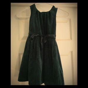 Girls hunter green velvet dress